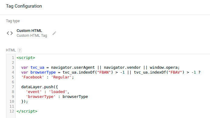 Custom HTML Tag configuration.